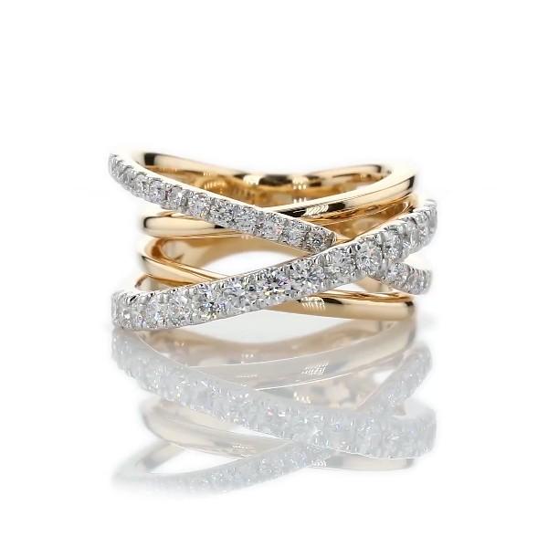 Diamond Crisscross Fashion Ring in 14k Yellow Gold (1 ct. tw.)