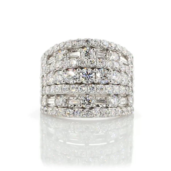 Multi-Band Round and Baguette Diamond Ring in 14k White Gold (3.00 ct. tw.)