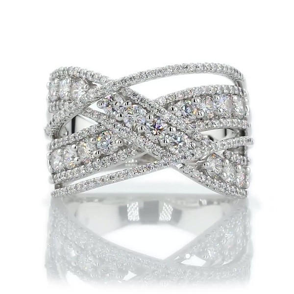 Crossover Diamond Fashion Ring in 14k White Gold (1 1/2 ct. tw)