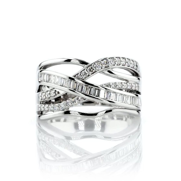 Round and Baguette Diamond Crossover Fashion Ring in 14k White Gold (1/2 ct. tw.)