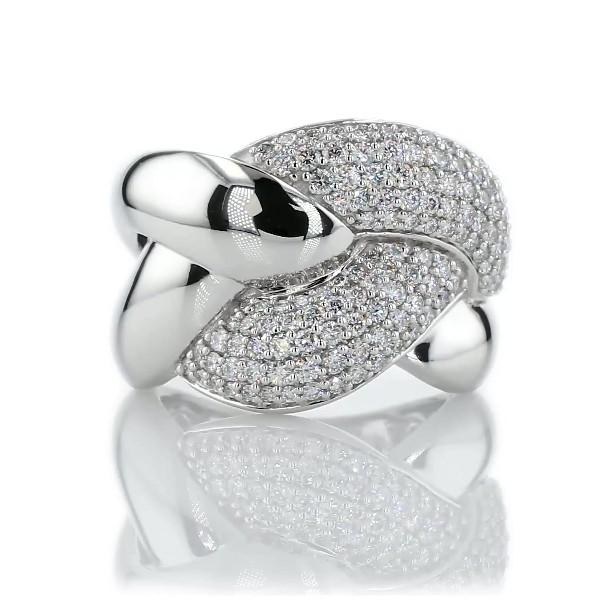 14k 白金镶钻链节缠结时尚戒指(1 克拉总重量)