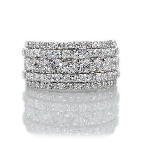 14k 白金五排鑽石時尚戒指(2 克拉總重量)