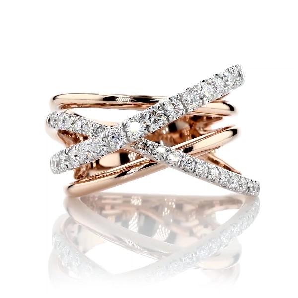 14k 玫瑰金镶钻交叉时尚戒指(1 克拉总重量)