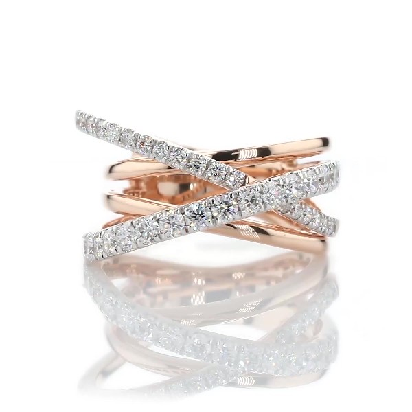 Diamond Crisscross Fashion Ring in 14k Rose Gold (1 ct. tw.)