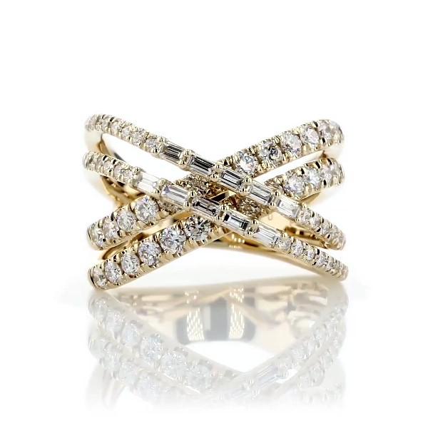Double Crossover Diamond Ring in 14kt Yellow Gold (1 1/8 ct. tw.)