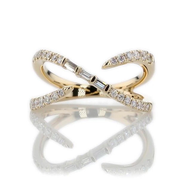 Open Crossover Diamond Fashion Ring in 14k Yellow Gold (1/4 ct. tw.)