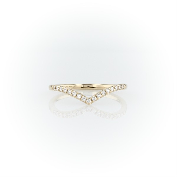 Diamond Chevron Stackable Fashion Ring in 14k Yellow Gold (1/10 ct. tw.)