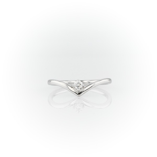 Chevron Single Stone Stackable Fashion Ring in 14k White Gold