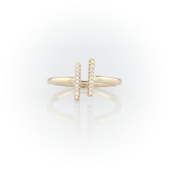 14k 黃金精緻密釘分叉長條鑽石時尚戒指
