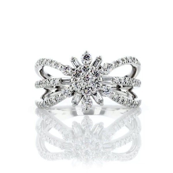Floral Burst Diamond Fashion Ring in 14k White Gold (3/4 ct. tw.)