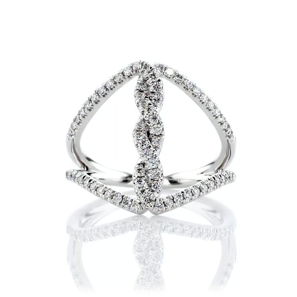 Open Twist Diamond Fashion Ring in 14kt White Gold (1/3 ct. tw.)