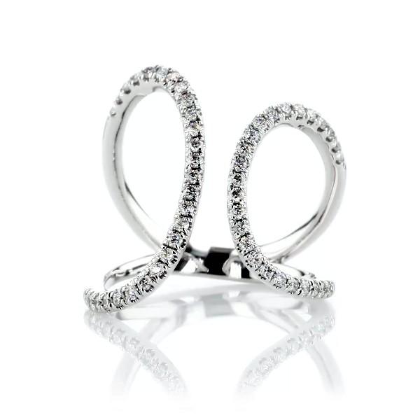 14K 白金不对称分裂弧形镶钻时尚戒指(1/3 克拉总重量)