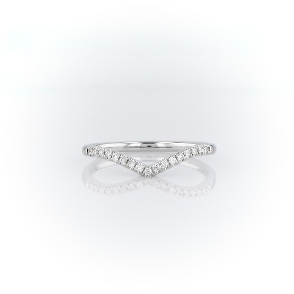 Diamond Chevron Stackable Fashion Ring in 14k White Gold (1/10 ct. tw.)