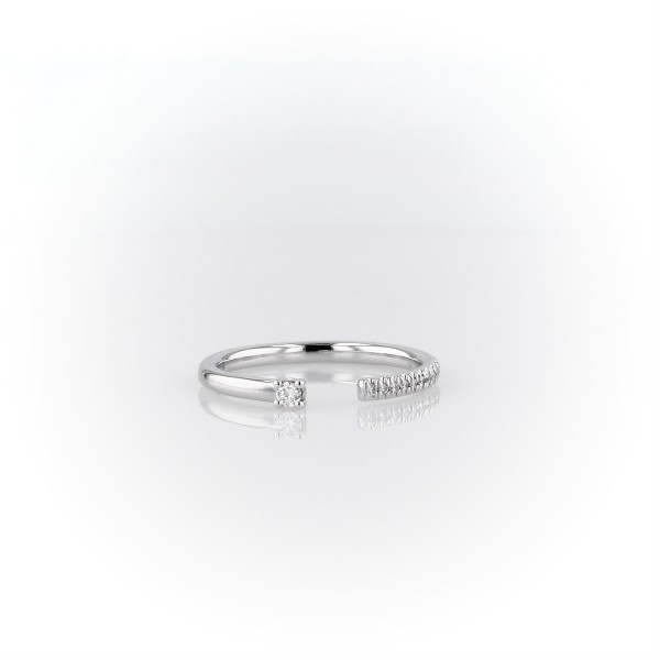 Ultra Mini Diamond Pave Open Stackable Fashion Ring in White Gold