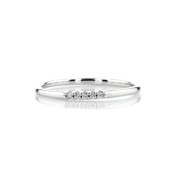 anillo ultra mini abierto, moderno y apilable con pavé de diamantes en oro blanco de 14 k