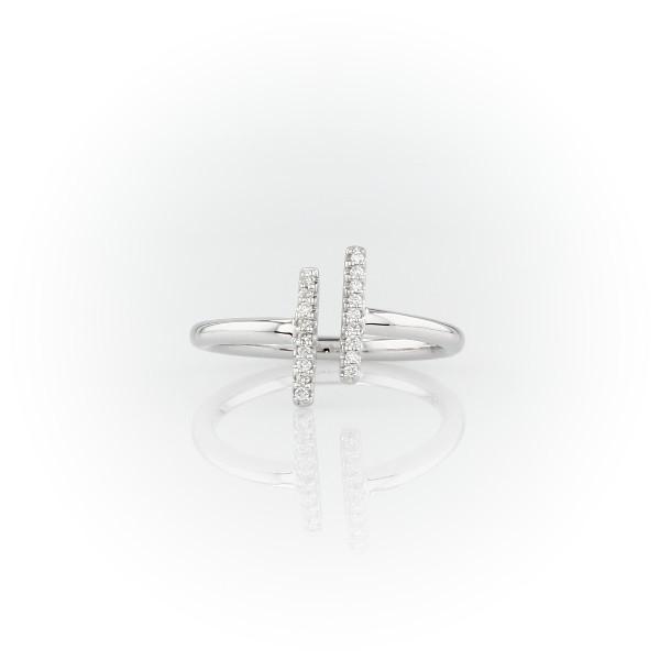 Petite Diamond Split Bar Fashion Ring in 14k White Gold