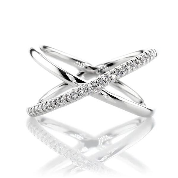 14k 白金精巧密钉钻石交叉时尚戒指<br>(1/10 克拉总重量)