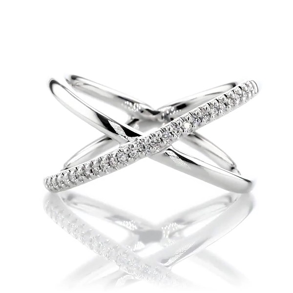 Petite Diamond Crossover Fashion Ring in 14K White Gold