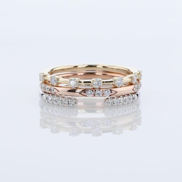 Diamond Tri-Color Gold Fashion Ring Stack (1/3 ct. tw.)