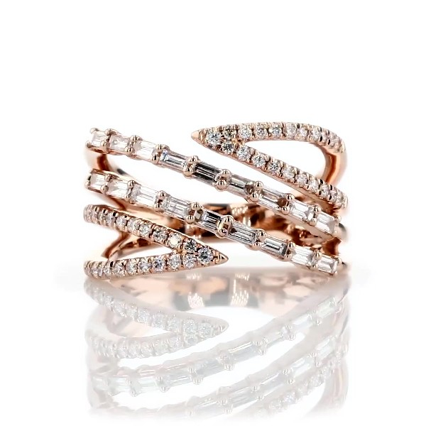 Partial Open Crossover Diamond Fashion Ring in 14k Rose Gold (5/8 ct. tw.)
