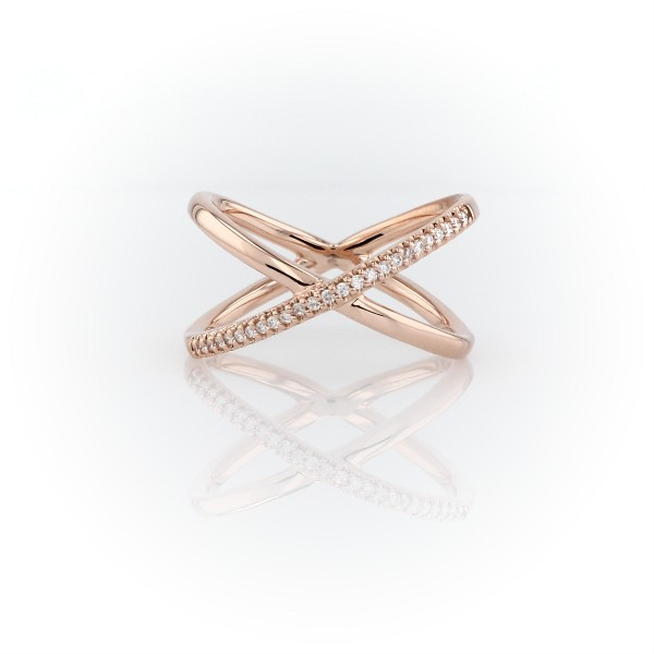 Delicate Pavé Diamond Crossover Fashion Ring in 14k Rose Gold (1/10 ct. tw.)