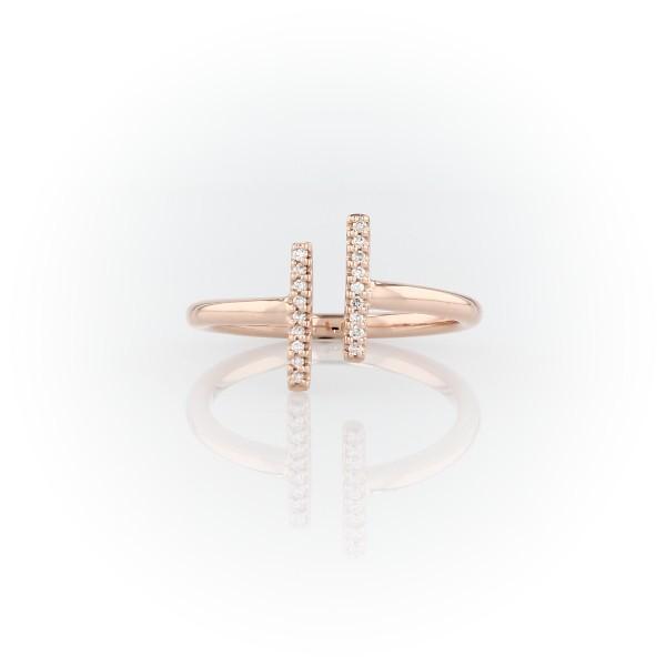 14k 玫瑰金精緻密釘分叉長條鑽石時尚戒指
