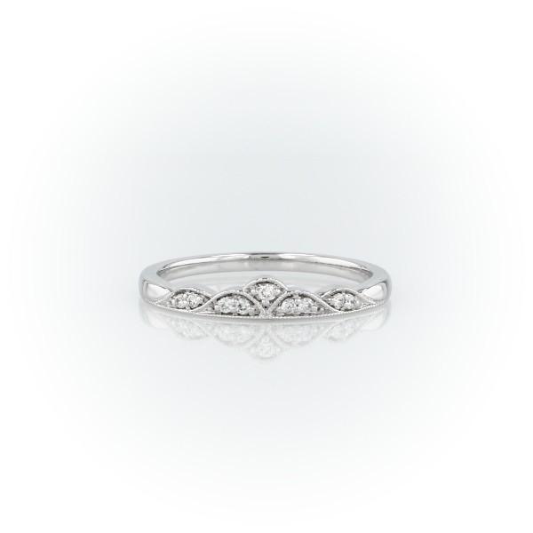 Petite bague mode millegrain tiare de diamants en or blanc 14carats