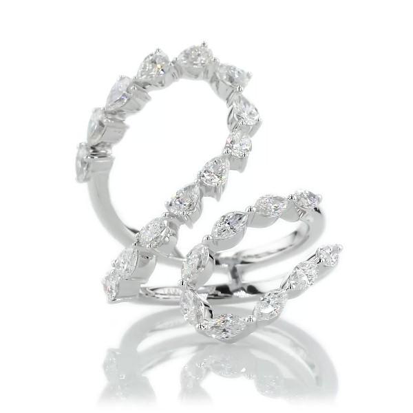 Avant-Garde Twist Fancy Cut Diamond Fashion Ring in 14k White Gold (1 7/8 ct. tw)
