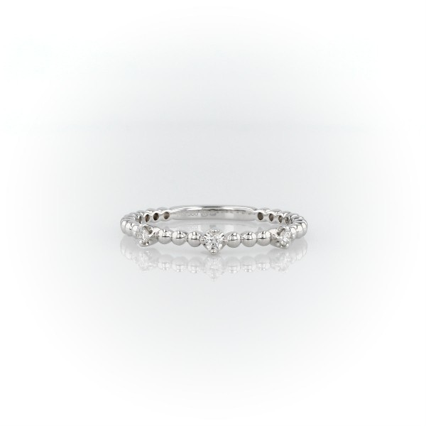 Mini Diamond Beaded Three Stackable Fashion Ring in 14k in White Gold