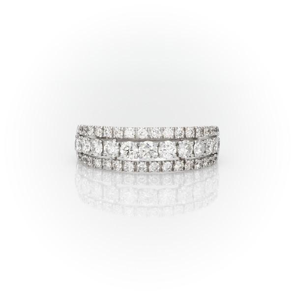 Triple Row Diamond Fashion Ring in 14k White Gold (1 ct. tw.)