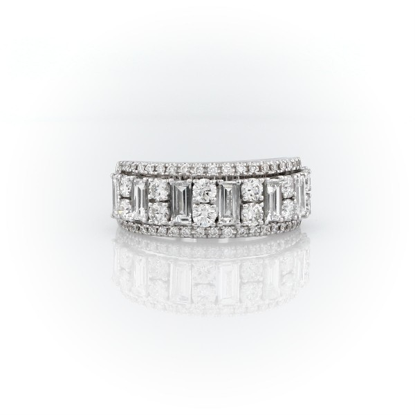 Triple Row Emerald-Cut Fashion Ring in 14k White Gold (1 3/8 ct. tw.)