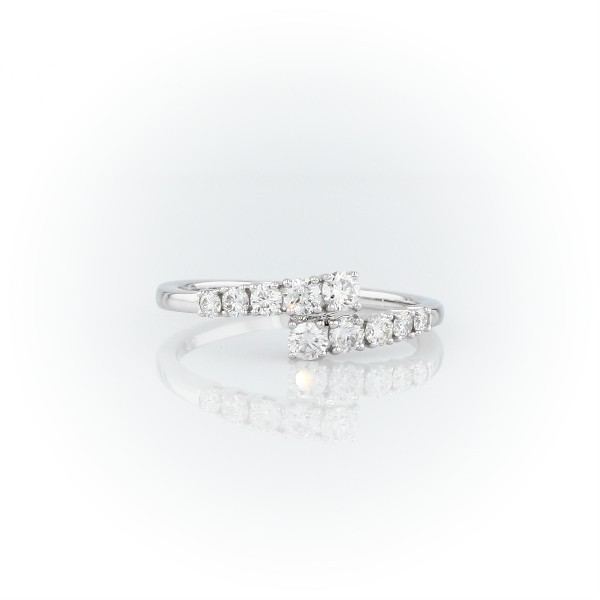 Diamond Linear Wrap Fashion Ring in 14k White Gold (1/2 ct. tw.)