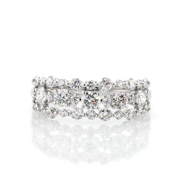 Diamond Three-Row Alternating Fashion Ring in 14k White Gold (0.95 ct. tw.)