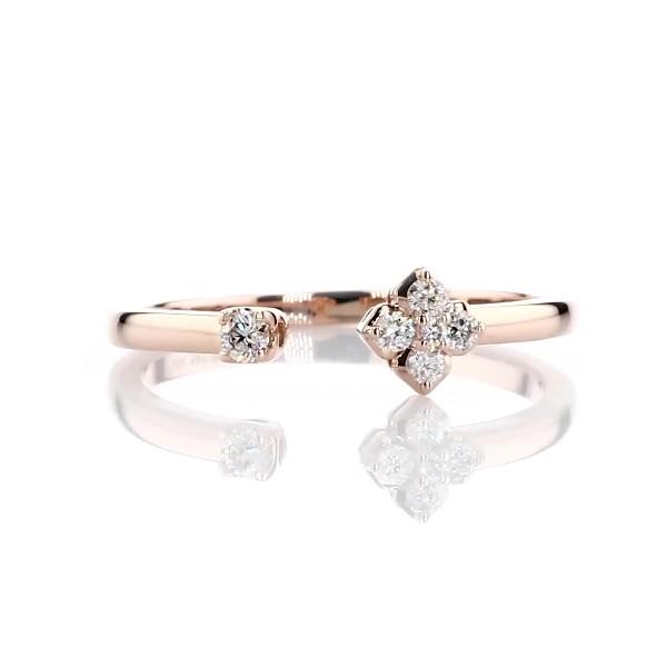 14k 玫瑰金迷你钻石中空花朵可叠戴时尚戒指(1/10 克拉总重量)