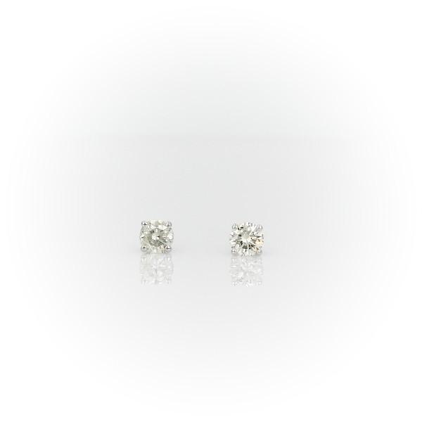 14k 白金钻石耳钉(1/3 克拉总重量) - I/I2
