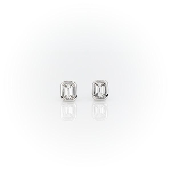 Bezel Set Emerald Cut Diamond Stud Earrings in 14k White Gold (1/3 ct. tw.)