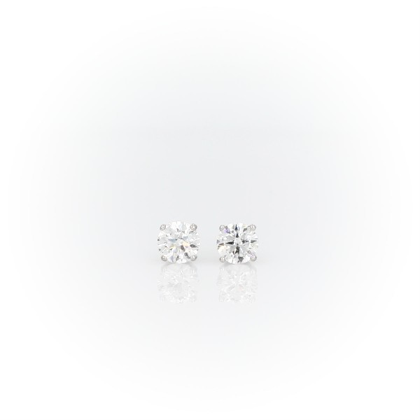 Canadian Diamond Stud Earrings In 18k White Gold 12 Ct Tw