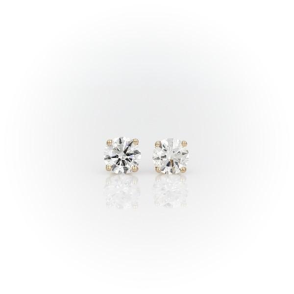 Puces d'oreilles en diamant sertissure à quatre griffes Or jaune 14carats(0,96carat, poids total)