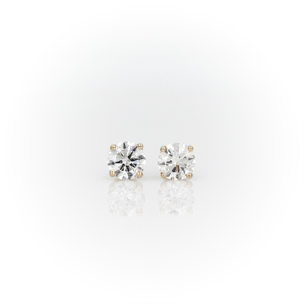 14k 黃金鑽石釘款耳環(1 克拉總重量)
