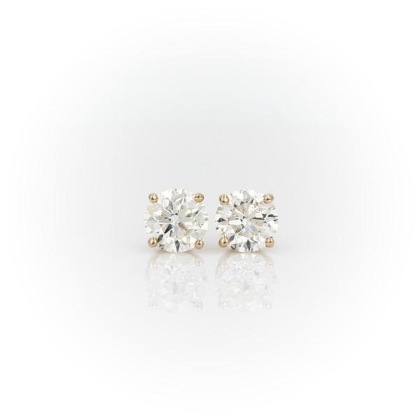 14k 黃金鑽石釘款耳環(2 克拉總重量)