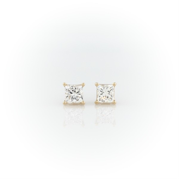 14k Yellow Gold Four-Claw Princess Diamond Stud Earrings (0.96 ct. tw.)