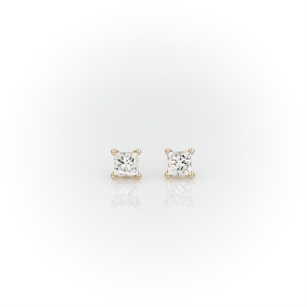14k Yellow Gold Four-Claw Princess Diamond Stud Earrings (0.46 ct. tw.)