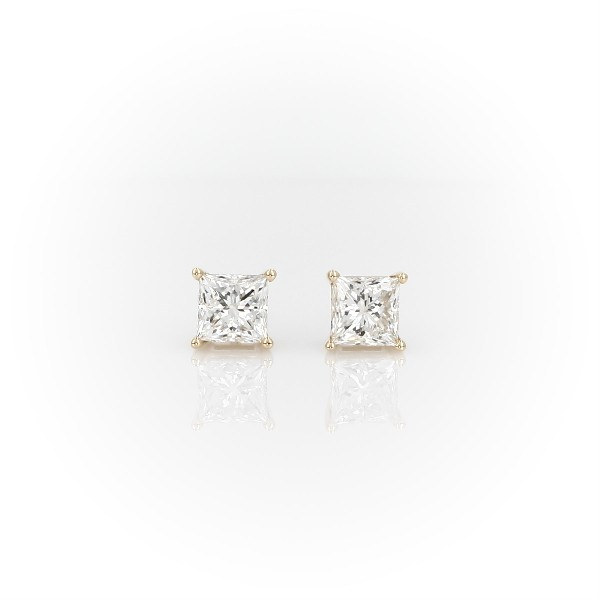 14k Yellow Gold Four-Claw Princess Diamond Stud Earrings (1.45 ct. tw.)