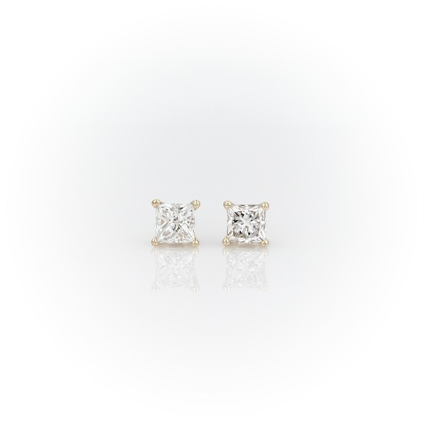 14k Yellow Gold Four-Claw Princess Diamond Stud Earrings (0.70 ct. tw.)