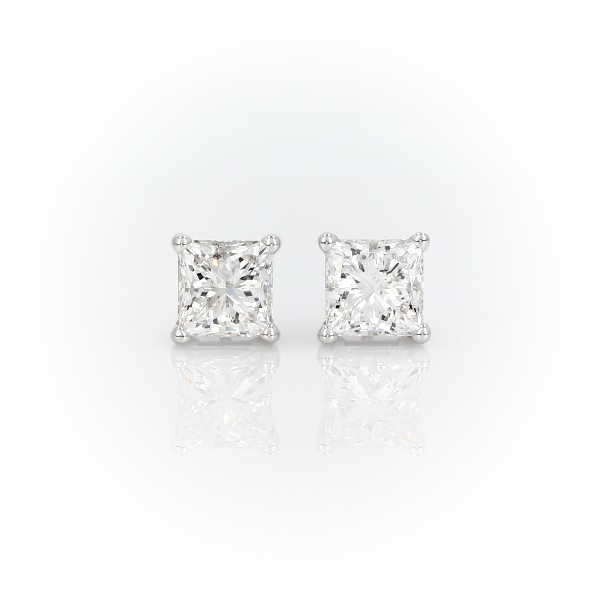 14k 白金公主方形钻石耳环(4 克拉总重量)