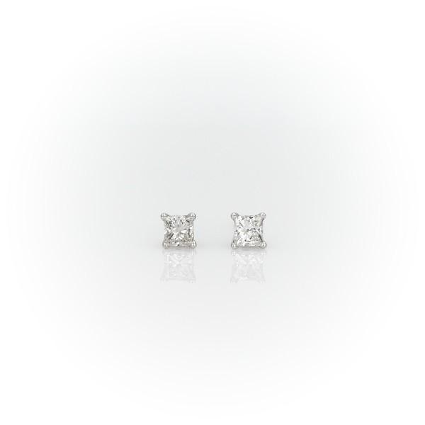 Puces d'oreille diamant princesse quatre griffes or blanc 14carats(0,23carat, poids total)