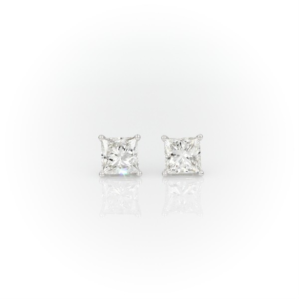 Princess-Cut Diamond Stud Earrings in 14k White Gold (1 1/2 ct. tw.)