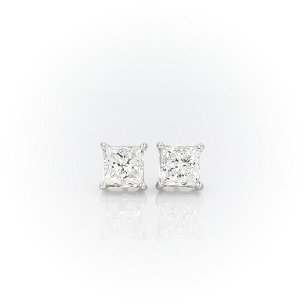 14k 白金公主方形鑽石耳釘(2 克拉總重量)