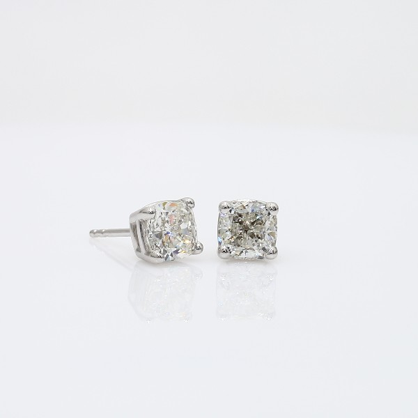 Diamond Stud Cushion-Cut Earrings in 18k White Gold (2 ct. tw.)