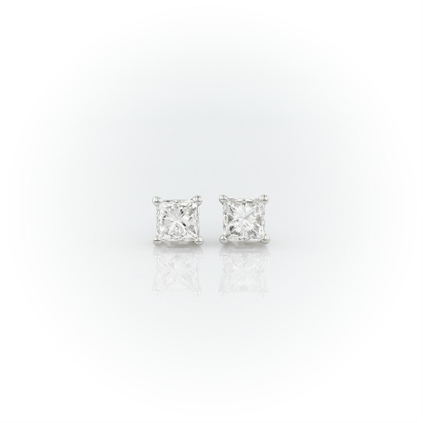 Platinum Four-Claw Princess Diamond Stud Earrings (0.96 ct. tw.)